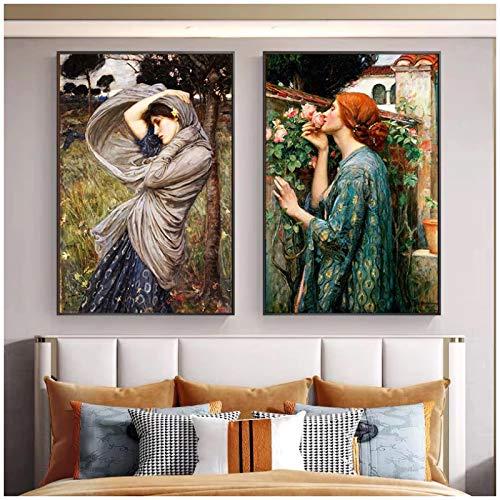 cuadrosFamoso Cuadro clásico Retro Mujer en Carteles de Gasa Clara e Impresiones Pinturas en Lienzo Arte de la Pared para la decoración de la Sala de Estar 15.7x19.7in (40x50cm) x2pcs SIN Marco