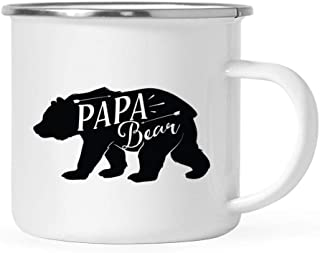 Andaz Press 11oz. Stainless Steel Camping Coffee Mug Gift, Papa Bear, 1-Pack, Birthday Christmas Outdoors Metal Enamel Campfire Cup