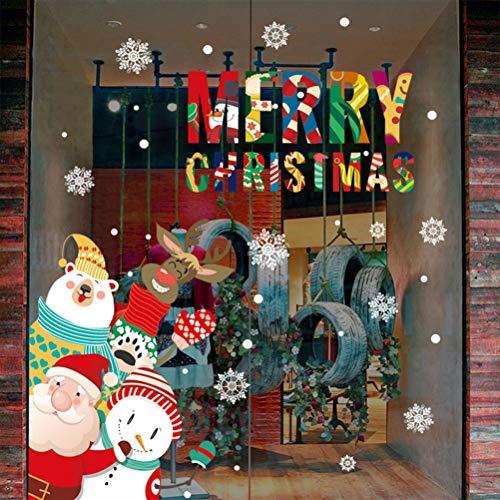 Bozaap Noël Noël Sticker Mural, Joyeux Noël Verre Sticker Père Noël Bonhomme De Neige Sticker Mural Fenêtre Porte Maison Stickers Décor Décoration