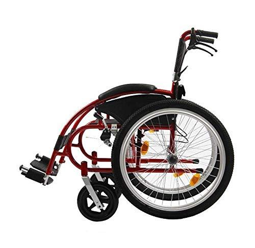 YIQIFEI Rollstuhl Manuell Leichtes Aluminium Tragbare Klappbare Rückenlehne Leichter Transport Nur Reisen Gewicht 18 kg (Stuhl)
