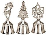 matrasa Silberne Handglocke Xmas - Weihnachtliche Tischglocke 12 cm - Weihnachtsbaum