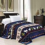 Home Soft Things Light Weight Christmas Collection Flannel Fleece Blanket, Queen, Blue Christmas Deer