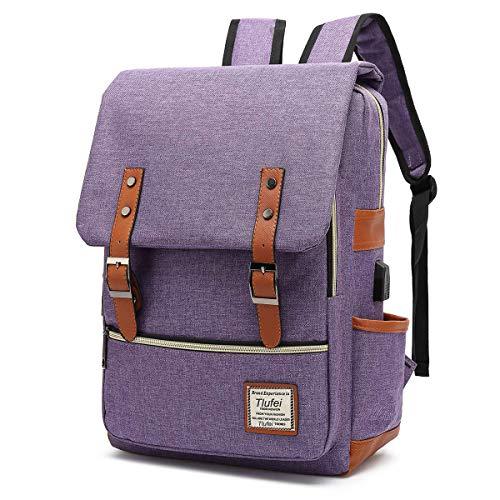 Laptop Backpack for Women Men,Tear Resistant School College TravellingBackpack with USB Charging Port Vintage Backpack (Purple)