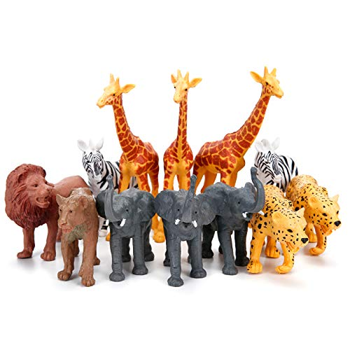 Jumbo Safari Animal Figurines Toys  12 Piece African Jungle Zoo Animals Figures  Realistic Wild Plastic Animals Toy with Elephant  Giraffe  Lion Educational Playsets for Toddlers  Kids Birthday Set
