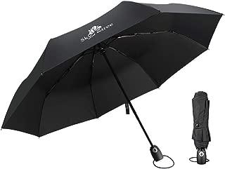 Windproof Travel Umbrella Compact Folding Auto Open&Close Umbrella,Black (Sky tree)
