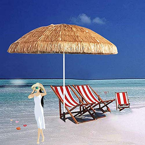 LDJ Parasol Déportéinclinable 6ft Parapluie De Parasol De Paille Protection UV Polyester Hawaïenne Parasol Pliable pour Jardin, Terrasse, Piscine