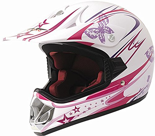 Protectwear MaX Racing V310-GIRL-XS Casco Moto per Bambini, Rosa/Bianco Lucido, XS