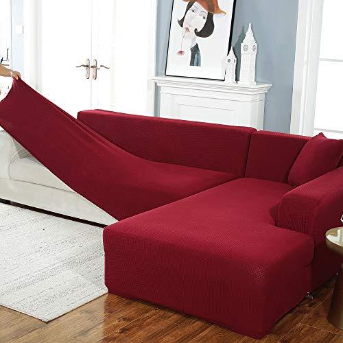 ABUKJM Sofaüberwurf, elastisch, Jacquard-Strick, Maiskörner, für Wohnzimmer, rutschfest, dehnbar, Sofaschoner, Stil 7, 3-seat 190-230
