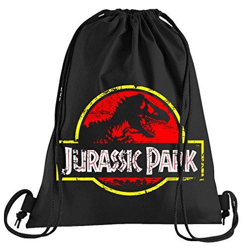Shirtzshop - Borsa sportiva con logo People Jurassic Park Distressed - Borsa stampata - Una bella borsa sportiva con cordoncini, Adulti (unisex), Nero , Taglia unica