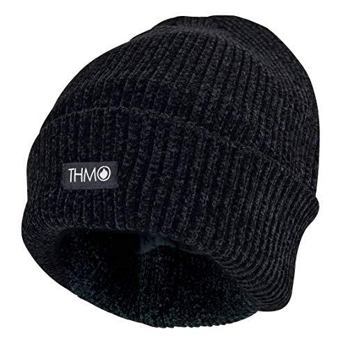 THMO - Femme Chaud Hiver Tricot Chapeau Bonnet Beanie avec Thinsulate 3M 40g Doublés Polaire (One Size, Noire)