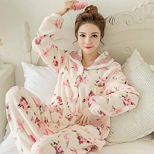 SleepWears badjas, herfst en winter, flanel, pyjama dikke lange mouwen, revers gebreid vest voor thuis