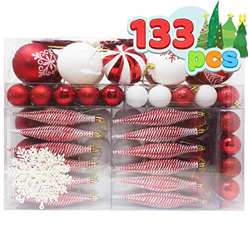 Joiedomi 133 Pcs Christmas Ornaments, Assorted Shatterproof Christmas Ornaments for Holidays, Indoor/Outdoor Party Decoration, Tree Ornaments, and Events (Red&White)