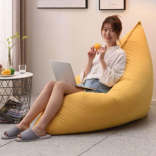JHLD Riesen Sitzsack Bezug, Ohne Füllung Sitzsack Stühle Sofabezug Versteckt Reißverschluss Baumwolle Und Leinen Sitzsackbezug Für Schlafzimmer Wohnzimmer-Gelb-140×110CM