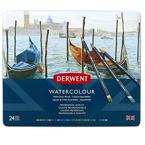 Derwent Colored Pencils, WaterColour, Water Color Pencils, Drawing, Art, Metal Tin, 24 Count (32883)