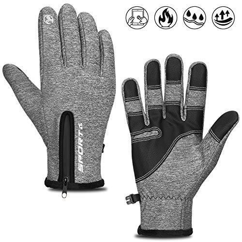 Cevapro Fahrradhandschuhe Outdoor Winddichte Sporthandschuhe Winter Touchscreen Handschuhe Unisex Warme Atmungsaktive Winterhandschuhe mit Reißverschluss für Männer/Frauen (Grau, M)