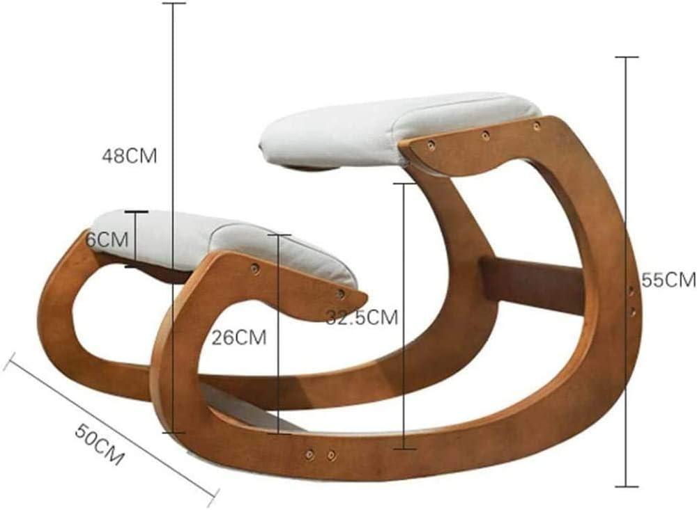 FHKBB Chaise Ergonomique à Genoux Tabouret en Bois pour Bureau à Bascule siège Genou Posture Chaise de Bureau Coussins de Genou Tabouret avec Coussin de Hanche Grey
