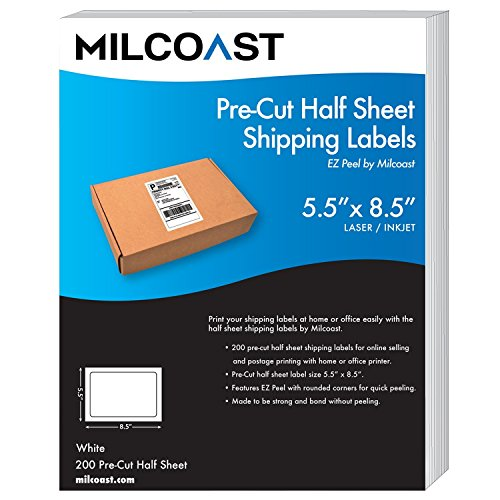 """Milcoast Pre-Cut Large 5.5"""" x 8.5"""" Half Sheet Adhesive White Shipping Label Stickers - Easy to Peel, for Laser or Inkjet Printers (200 Labels)"""