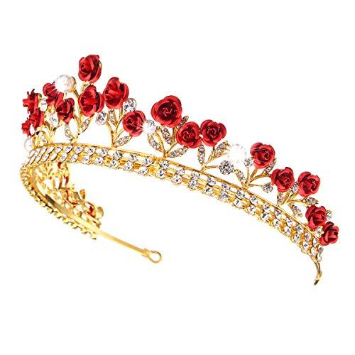 RanDal Rose Crystal Rhinestone Tiara nupcial Joyería de la boda Princesa Crown Prom Hair Tiara