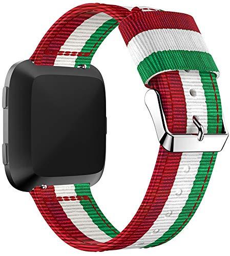 Correas para Relojes Nylon Compatible con Fitbit Versa 2 / Versa 2 SE/Versa Lite/Versa smartwatch, Correa de Reloj de NATO para Mujer y Hombre con Hebilla de Acero Inoxidable (Pattern 1)