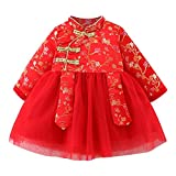Kids Girl Tang Suit Chinese New Year Traditional Dress for Toddler Baby Girls - Beautiful Flower Pattern Red