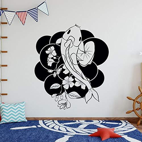 YuanMinglu Adhesivo Pared Mural pez koi Pegatina Animal