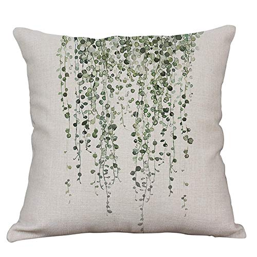 YeeJu Green Plant Decorative Throw Pillow Covers Cotton Linen Square Cushion Cover Outdoor Sofa Home Pillow Covers 16x16 Inch