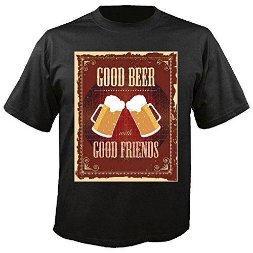 T-shirt Remera Buena Bier met goede vrienden Bier de Vodka Agudent de Vino witte wijn alcohol licor in zwart