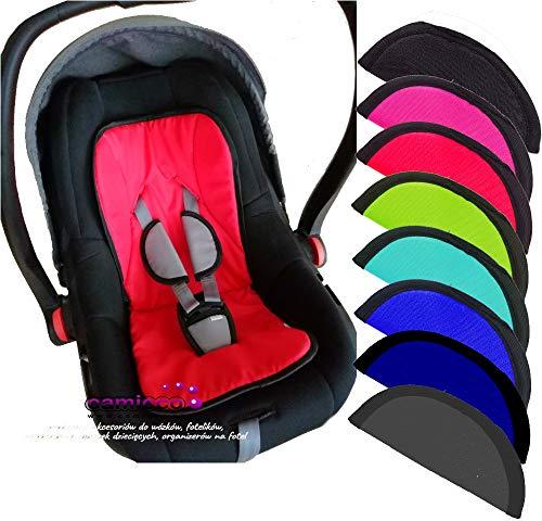 Camicco ** SEAT PAD 5 Punkt Gurt ** 3tlg. SET mit 2 x Gurtpolster + 1 x Schrittpolster ** Für für Babyschale Gruppe 0+ z.B. Maxi-Cosi, Römer, Cybex etc. (Grau)