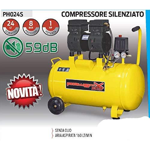 COMPRESSORE 24 25 LT SILENZIATO A SECCO ITALY 8 BAR 1 HP 2 ITALY MANOMETRI 160L/M PISTONI TEFLON SENZA OLIO
