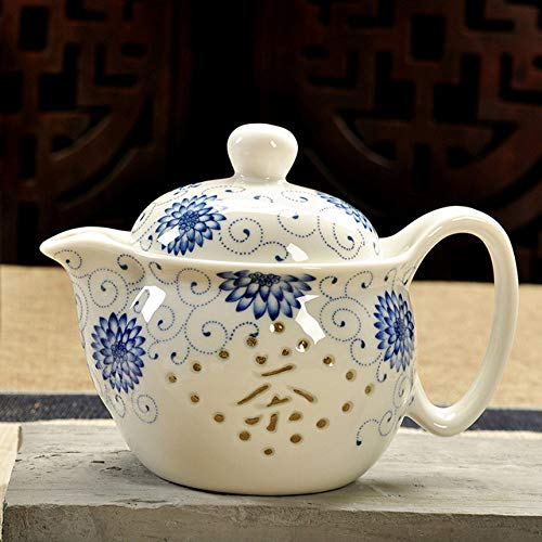 CCEKD Teteras Tetera de cerámica Kung Fu téPaisaje Azul y Hueso Blanco China Oficina Tetera hogar, 5