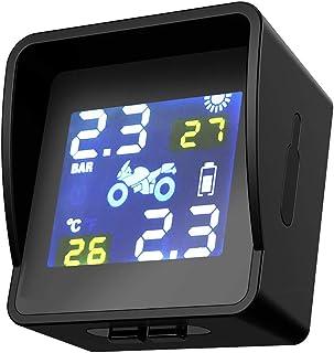 mewmewcat Solar W-ireless para motocicleta Sistema de monitoramento da pressão dos pneus Monitor LCD com sensor externo in...