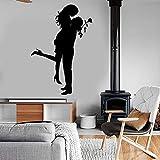 JXND Vinilo Decorativo para el hogar Pegatinas de Pared Familia corazón Pareja Amor día de San Valentín Abrazos románticos Beso calcomanía romántica Dormitorio Mural 42x62