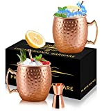 Moscow Mule Copper Mugs - Set of 2 Stainless Steel Mug Copper Cups - 18 Ounce Food Safe Hammered Mug Perfect for Cold Drink - MUGS-2CP