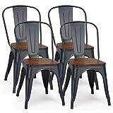 Juego de 4 sillas de Comedor de Metal, con Respaldo y Asiento de Madera, Silla de Cocina apilable...