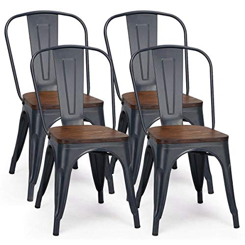 4 Dining Chairs Set, Stackable Industrial Metal Dining Chairs with Backrest and Wooden Seat, Grey Dining Room Kitchen Chairs for Restaurant Bistro Patio