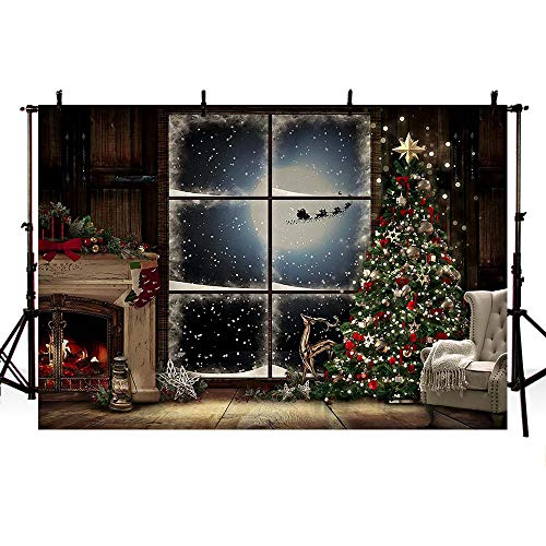 MEHOFOTO 7x5ft Winter Christmas Tree with Red Gold Bells Photography Background Snowflake Lights Moon Fireplace Stars Window Deer Backdrops Xmas Eve Party Decoration Banner Photo Props