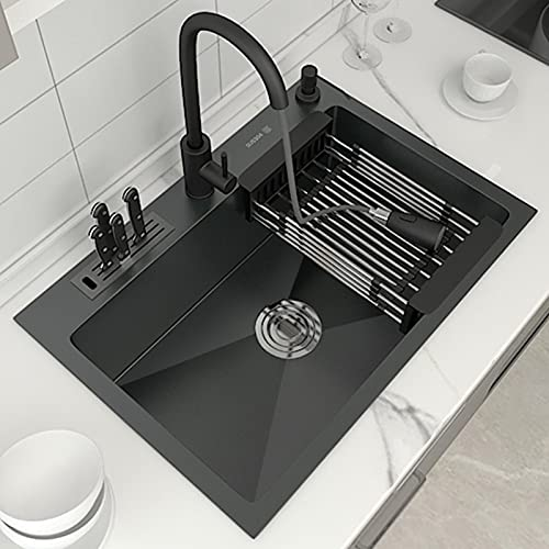 Fregadero de cocina, hecho a mano, fregadero nano-plato de acero inoxidable 304 negro, con portacuchillas, grifo,...
