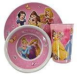 Set di stoviglie delle principesse Disney per bambini, 3 pezzi, in melamina