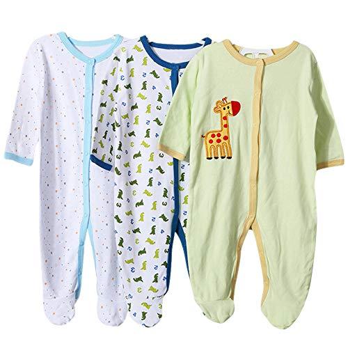 BOZEVON Body Bebés-Niños y Niñas - Manga Corta/Manga Larga/Sin Mangas Pijamas de Algodón (3/5 Pack)