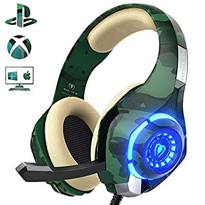 Gaming Headset for PS4 PC Xbox one, Stereo Sound Over Ear Headphones with Noise Reduction Microphone Volume Control and LED Light for Laptop Tablet Mac iPad