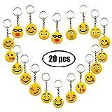 YuChiSX Portachiavi Emoji, Portachiavi Decorazioni,Confezione da 20 Portachiavi Emoticon Emoji Incantevole per Bambini, Bomboniere per Bambini,per Il Giorno dei Bambini, Natale, Compleanni