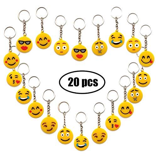 YuChiSX Emoji llaveros, Llavero decoración,Paquete de 20 encantadores Emoji Emoticon Llavero para niños, Fiesta de los niños favorece Suministros Decoraciones Bolsa