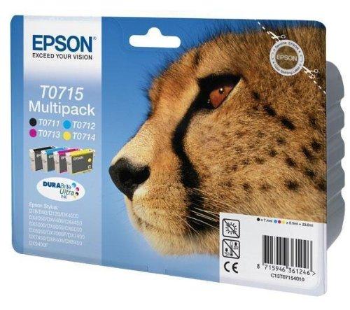 Druckerpatrone - Druckerpatrone - T0715 Tintenpatronen Multi-Set mit 4 schwarzen -, cyan, magenta, Gelb für Epson Stylus DX4000, DX4050, DX5000, DX5050, DX6000, DX6050, DX7000F, D78, D92 C13T07154010 (Epson)
