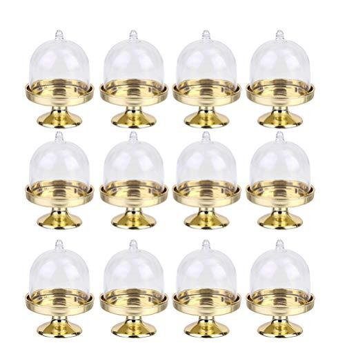 NUOBESTY 12 Stücke Muffinglocke Kuchenglocke Kuchenplatte mit Haube Käseglocke Kuchen Glasglocke Mini Tortenständer Gastgeschenk Box für Hochzeit Tischdeko Geburtstag Party Deko