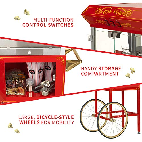 Product Image 5: Funtime FT860CR Antique Carnival-Style 8-Ounce Hot-Oil Popcorn Popper with Cart, Red