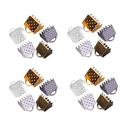 EXCEART 500 Piezas de Cinta de Metal Termina Pulsera Marcador de Cable Abrazadera Termina Sujetadores Cierres de Cuero Extremos de Engarce para Joyería Artesanía Haciendo 6 Mm (Color Mezclado)