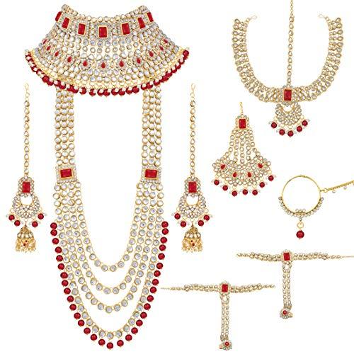 Aheli Traditional Wedding Indian Bridal Jewelry Set Long Choker Necklace Earrings Maang Tikka Nath Paasa Hath Phool in Faux Kundan Beads