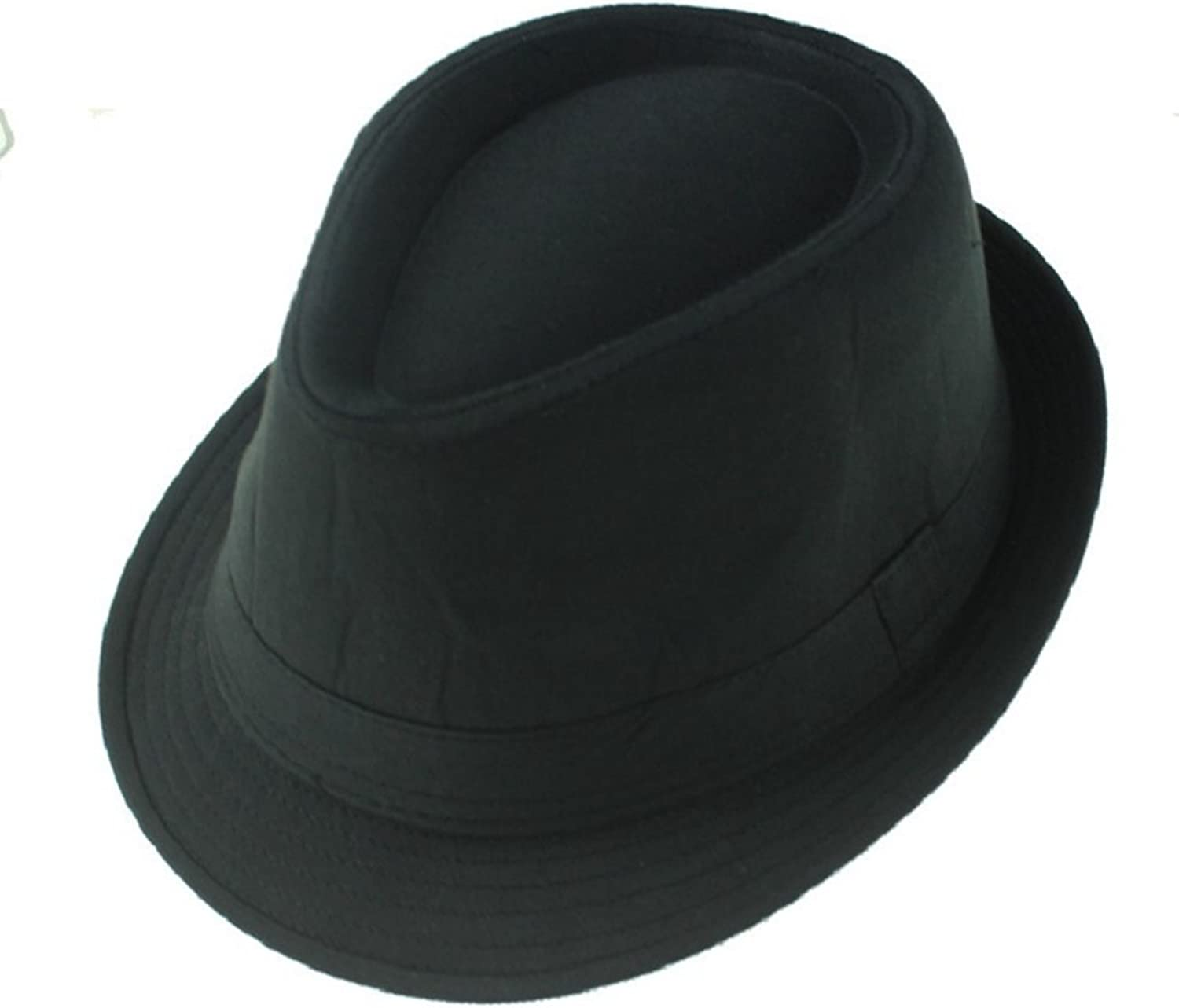 AOBRITON Fedoras Jazz Hat Bucket Panama Gentleman Cap for Travel Vacation Black