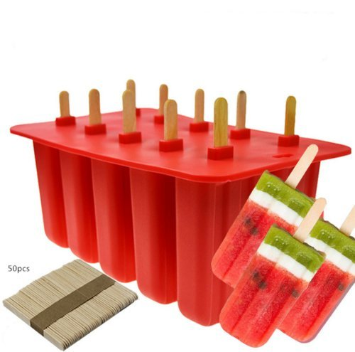 Wosonku 10 Cell Frozen Ice Cream Pop Mold Popsicle Maker Lolly Mould Ice Tray +50 Sticks
