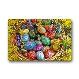 Feliz Colorido Huevos de Pascua Interior/al Aire Libre Antideslizante Caucho Doormats–Felpudo (23,6x 15,7)